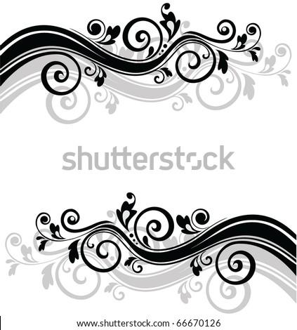 Retro floral banner - stock vector