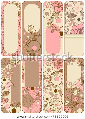 Retro floral banners collection - stock vector