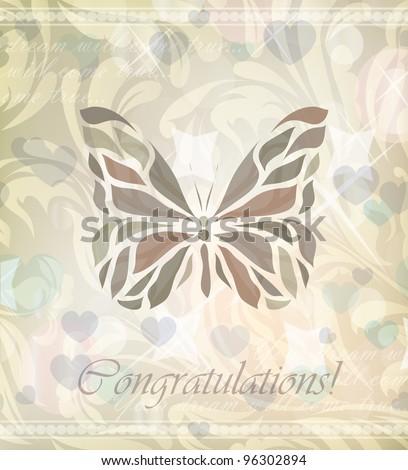 Retro floral butterfly (vector version eps 10) - stock vector