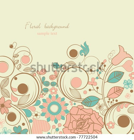 Retro floral card for different events - stock vector