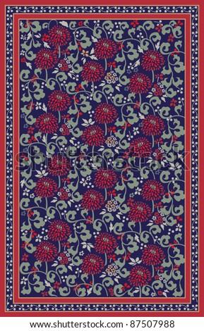 Retro floral carpet design - stock vector