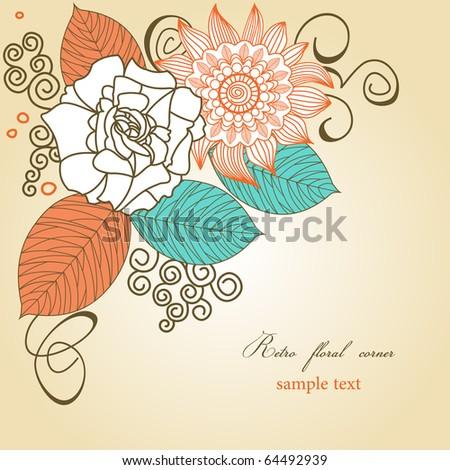 Retro floral corner - stock vector