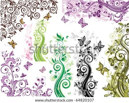 Retro floral design - stock vector
