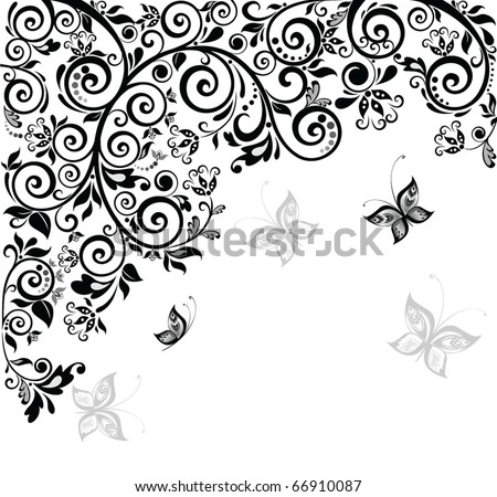 Retro floral greeting card - stock vector