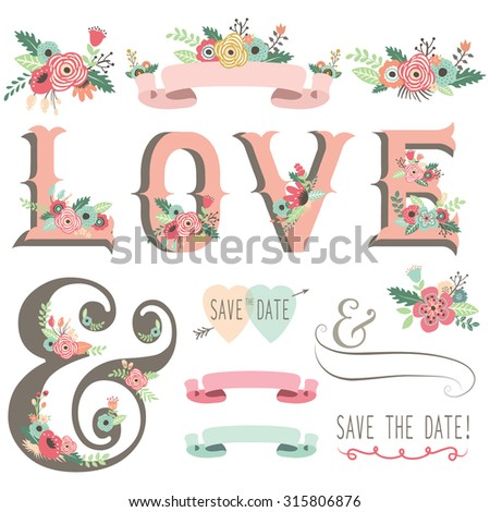 Retro Floral Invitation Design Elements - stock vector