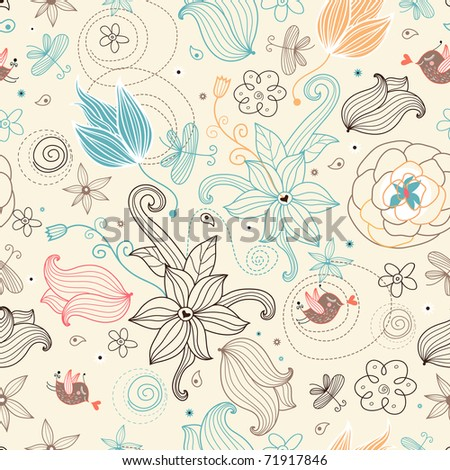 retro floral pattern - stock vector