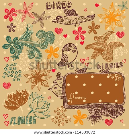 retro  floral pattern with birds - stock vector