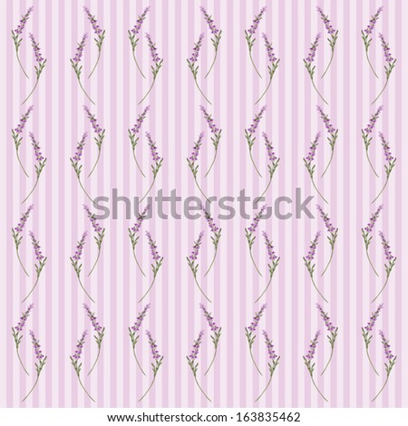 Retro floral pattern with lavender in provence style - stock vector