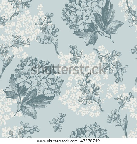 retro floral pattern with viburnum flowers and forget-me-nots - tiles seamlessly - stock vector