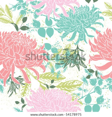 Retro floral seamless background - stock vector