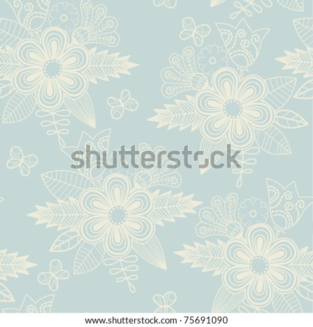Retro floral seamless background, endless pattern with flowers