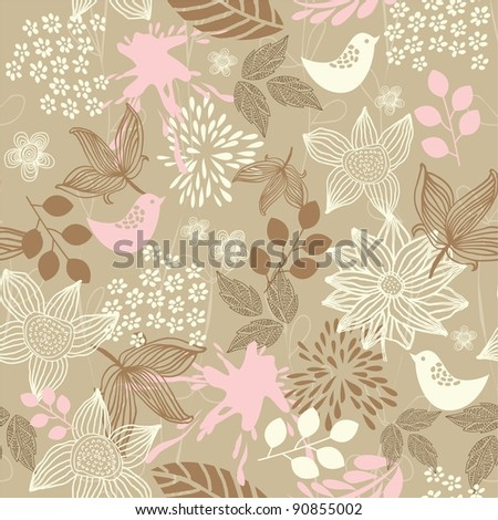 retro floral seamless background with birds - stock vector