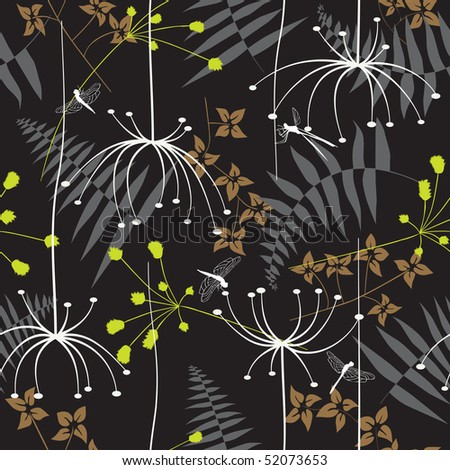 Retro floral seamless background with dandelion - stock vector