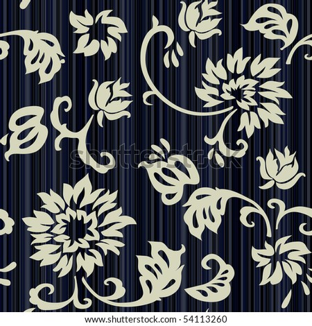 Retro floral seamless background with roses - stock vector