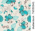 Retro floral seamless pattern - stock photo