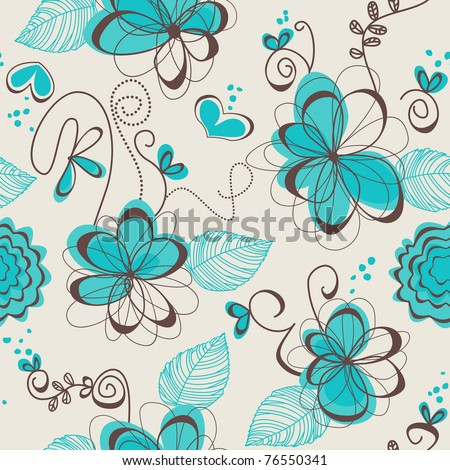 Retro floral seamless pattern - stock vector