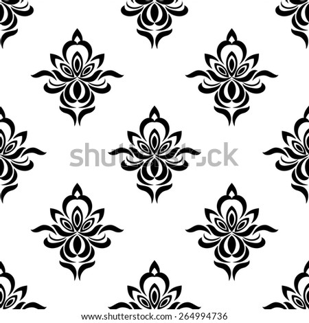 Retro floral seamless pattern with elegance black silhouetted flowers - stock vector