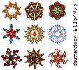 retro flower elements for design - stock photo