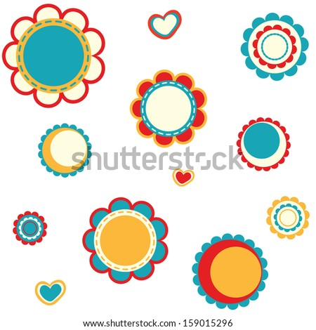Retro Flower Set - stock vector