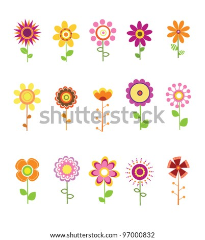 Retro Flower Set - stock vector