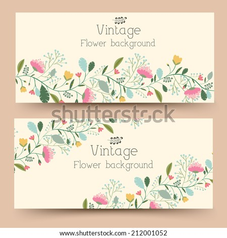 retro flower vertical banners concept. Vector illustration design - stock vector
