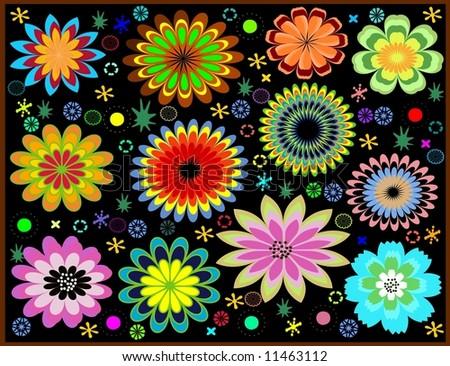 Retro flowers in vector - stock vector