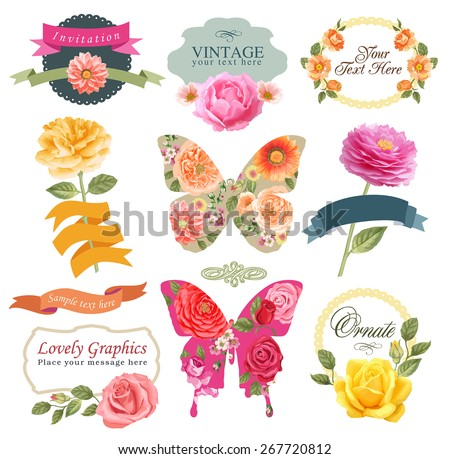 Retro flowers in vector. Cute floral bouquets. Vintage floral set - stock vector