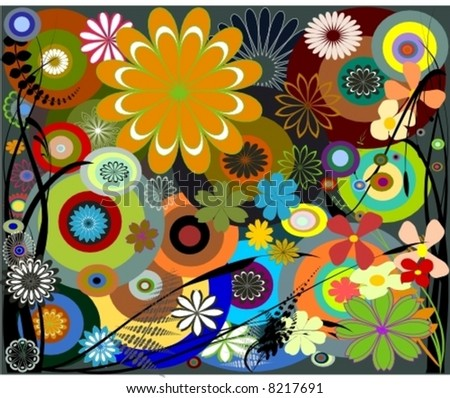 Retro foliage, flower and circles are done in vector. - stock vector