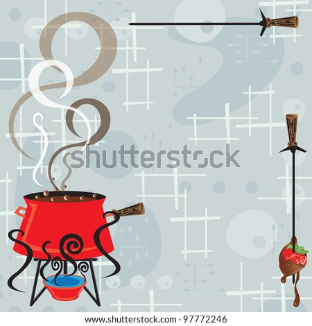 Retro fondue party invitation with a cool and modern feel. Bubbling and steaming pot of cheesy fondue and a skewer with a bread cube and dripping cheese against a retro background. - stock vector