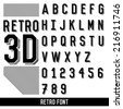 retro font. 3d extruded type vector. - stock vector