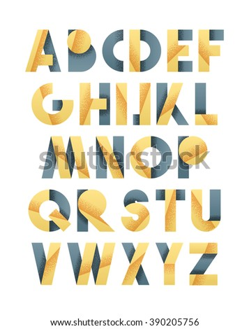 Retro font in grey and yellow. Beige Alphabet letters for vintage design directions. 3D realistic