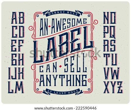 Retro font set with ornament frame for making label design - stock vector