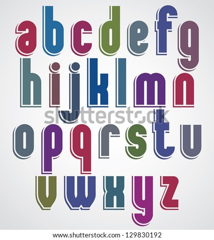 Retro font with rounded corners, bold condensed letters typeface, lowercase set. With outlines. - stock vector