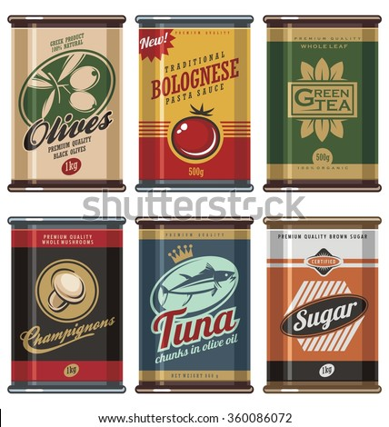 Retro food cans. Vintage food can vector collection. No gradients, no transparencies, no drop shadow effects, only fill colors. - stock vector