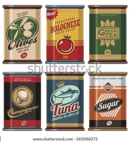 Retro food cans vintage vector collection. No gradients, no transparencies, no drop shadow effects, only fill colors. - stock vector