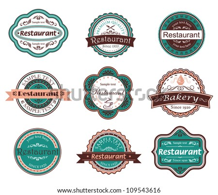 Retro food labels and emblems with embellishments. Jpeg version also available in gallery - stock vector