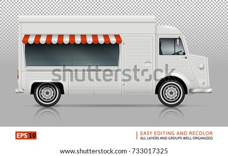 Retro Food Truck Vector Mock Up For Advertising Corporate Identity Isolated Template Of