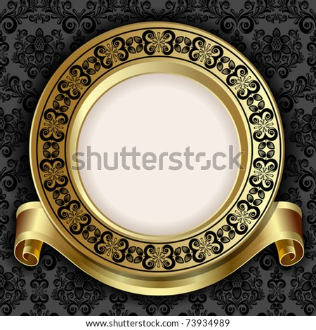 Retro frame on the black floral background - stock vector