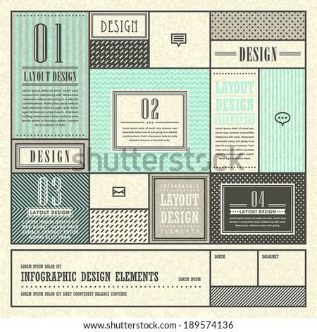 retro frame pattern style vector abstract infographic elements - stock vector