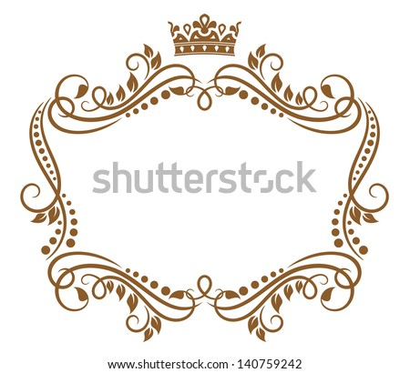 Retro frame with royal crown and flowers for wedding or heraldry design. Jpeg (bitmap) version also available in gallery - stock vector