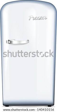 Retro freezer. Vector illustration. - stock vector