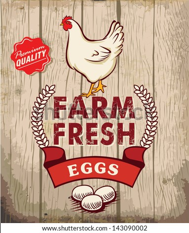 Retro Fresh Eggs Poster Design With Wooden Background - stock vector