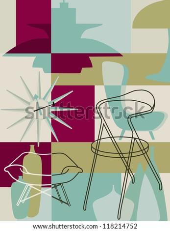 Retro furniture collage - stock vector