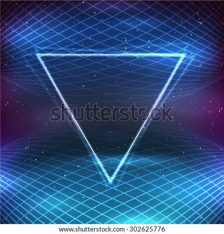 Retro Futuristic Background in 80s Posters style - stock vector