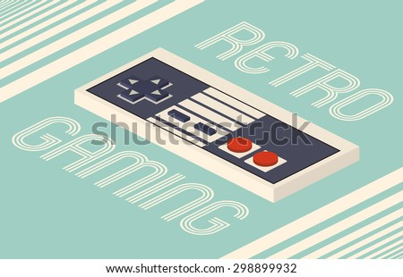 Retro gaming isometric vector illustration - stock vector