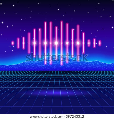 Retro gaming neon background with music wave - stock vector