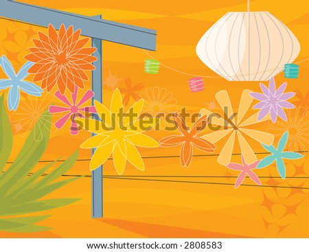 Retro Garden Party. Modern, colorful stylized outdoor patio party with arbor and flowers. Items are grouped so you can use them independently from the background. - stock vector