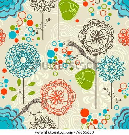 Retro garden seamless pattern, flowers and birds - stock vector