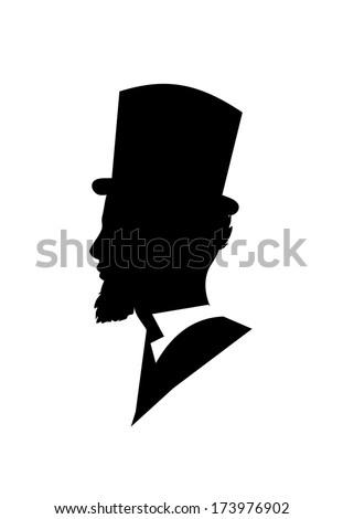 Retro gentleman face profile shape vector - stock vector