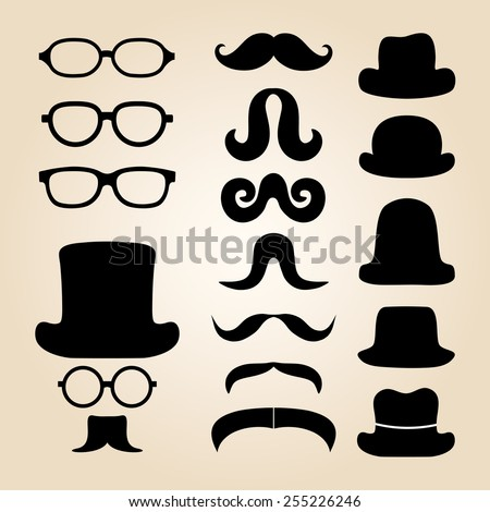 Retro gentleman's set consists of a hat, glasses and mustache - stock vector